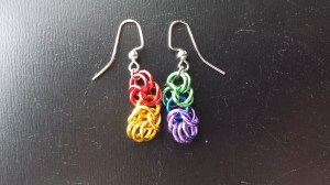 Rainbow byzantine earrings