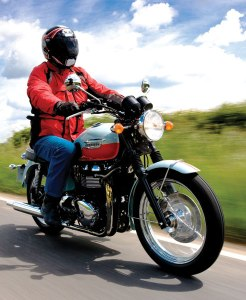 The author riding the 2008 Triumph 50th Anniversary Bonneville. When he purchased a 1960 Bonneville, Clem flew to England and picked it up at the factory.