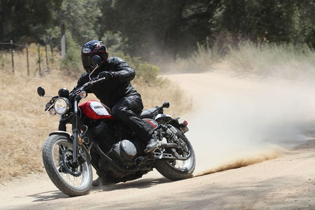 The SCR950's low center of gravity and friendly power delivery make it easy to dirt track around corners.