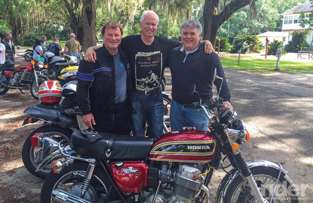 The author, Chairman of the Advisory Committee Bill Robinson and motojournalist Mitch Boehm with Bill's gorgeous Honda CB750.