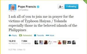 Pope Francis to Filipinos - Typhoon Yolanda