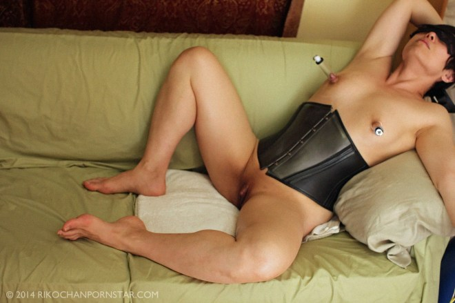FBB Rikochan in corset, with pumped nipples, showing off her nice big clitty.