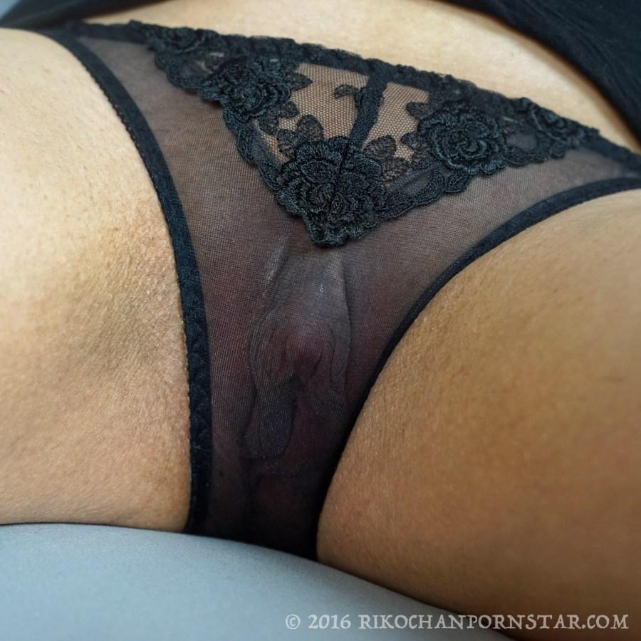 Big clit seen through mesh panties