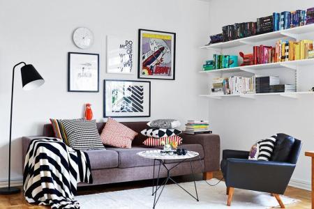 artistic scandinavian living room