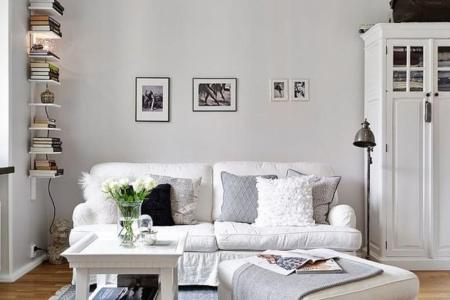 all white small living room idea