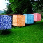 Our new Square Paper Lanterns in a bandanna-like hand block-print design.