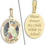 Pictures on Gold Guardian Angel Medal