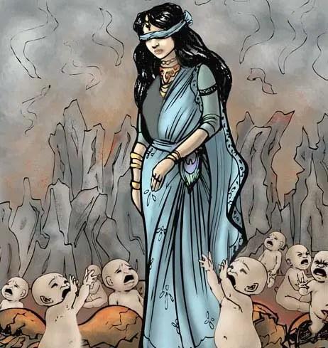 birth-kaurava-gandhari-mahabharat-indian-mythology