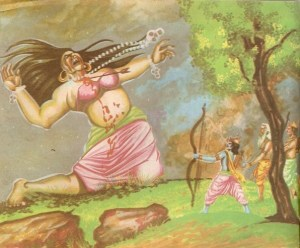 rama killing tataka helping sage vishwamitra with laxman 300x248 The Ramayana story in pictures   Bal Kand (1)