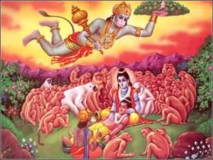 Hanumana brings Sanjeevani