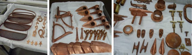 Inventoried pieces, stripped of the old plating and lined up according to need, ready for the initial steps of metal finishing