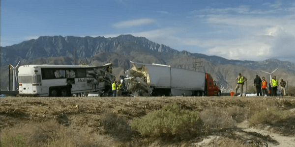 PALM SPRINGS: 13 dead, 31 injured in early morning tour bus accident