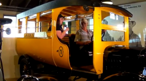 Sara got to sit in and learn about this 1924 Ford school Bus. The bus was Perris High School's very first bus. The students drove the bus themselves to get to and from school.