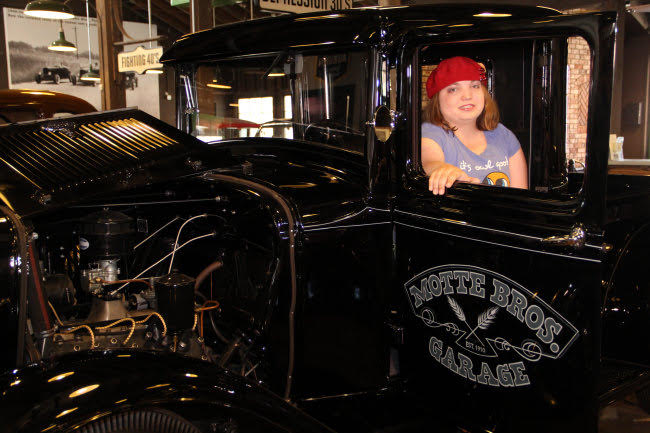 Sara learned that many of the vehicles on display at Mottes were once used by family members at the location.