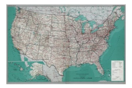 united states maps, printed road map poster | zle