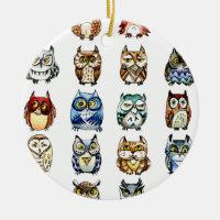 19Owls and 1Cat Double-Sided Ceramic Round Christmas Ornament