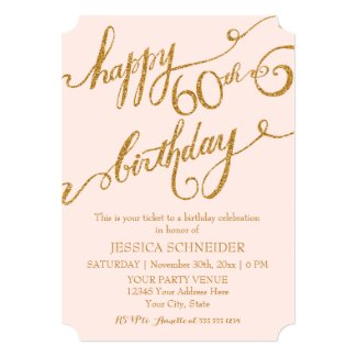 60th, Sixtieth Birthday Party Ticket Celebration Personalized Announcement