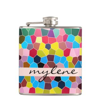 Abstract Stained Glass Vivid Rainbow Candy Mosaic Hip Flasks