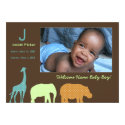 African Animal Monogram: Blue 5x7 Paper Invitation Card