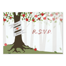 Apple Orchard Fall Autumn Wedding RSVP 3.5x5 Paper Invitation Card
