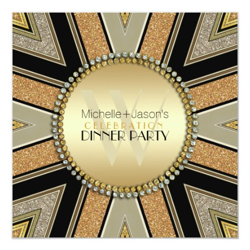 Art Deco Golden Glitter Dinner Party Invitation