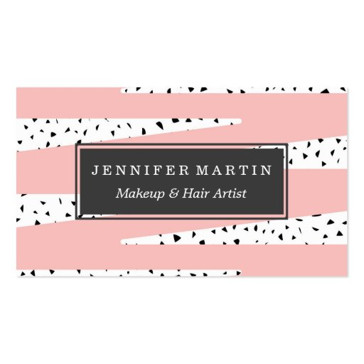 Artistic Chic Pink Zigzag & Abstract Triangles Business Card