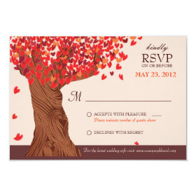 Autumn Love Romantic Oak Tree Fall Wedding RSVP 3.5x5 Paper Invitation Card