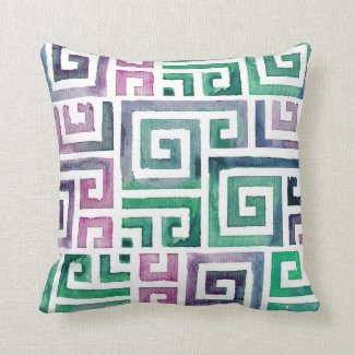 Aztec Watercolor Pattern. Tribal Pattern Throw Pillows