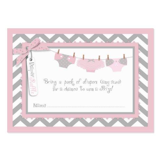 Baby Girl Tutu Diaper Raffle Ticket Large Business Card
