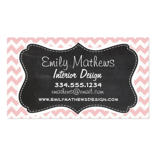 Baby Pink, Light Pink Chevron Stripes; Chalk Business Card