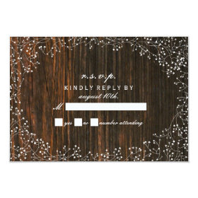 Baby's Breath Barnwood Inspired RSVP 3.5x5 Paper Invitation Card