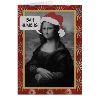 Bah Humbug Mona Lisa Anti-Christmas Card