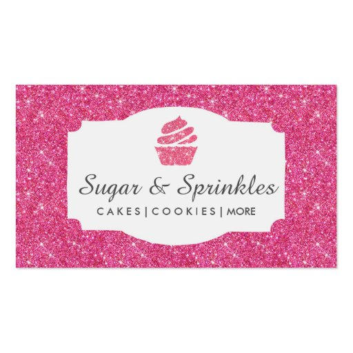 Bakery & Catering Pink Glitter Business Cards