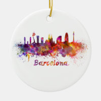 Barcelona skyline in watercolor Double-Sided ceramic round christmas ornament