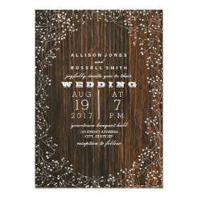 Barn Wood   Baby's Breath Wedding 5x7 Paper Invitation Card
