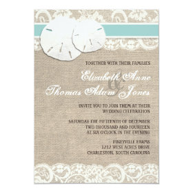 Beach Rustic Burlap Lace Wedding Invitation