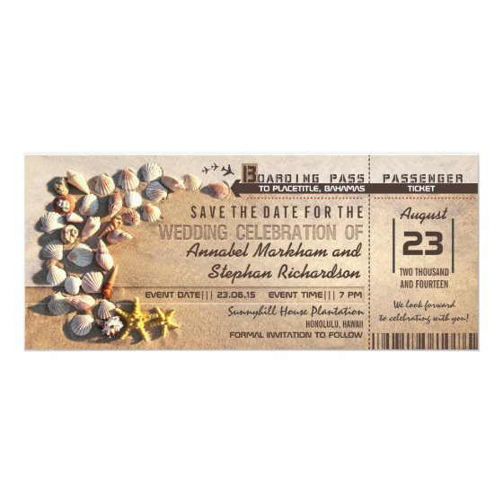 beach wedding boarding pass tickets save the date card