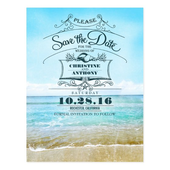 Beach wedding retro save the date postcards