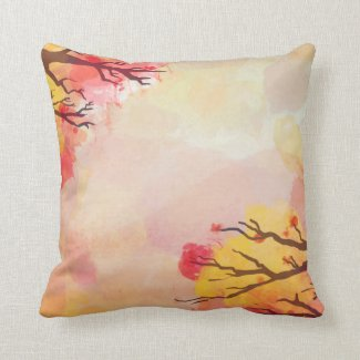 Beautiful Fall Autumn Watercolor Decorative Throw Throw Pillows