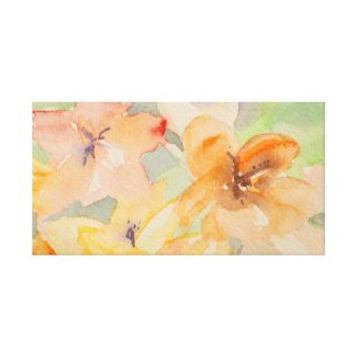 Beautiful pastelic flowers watercolor canvas