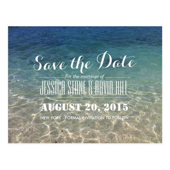 Beautiful Tropical Beach Wedding Save the Date Postcard