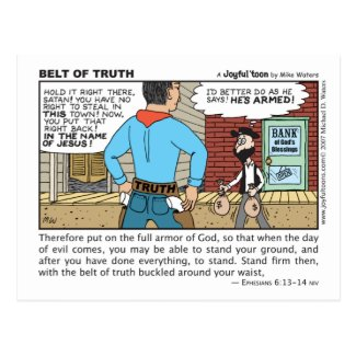 Belt of Truth Funny Christian post card