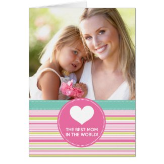 Best Mom in the World Fashion Colorful Stripes Cards