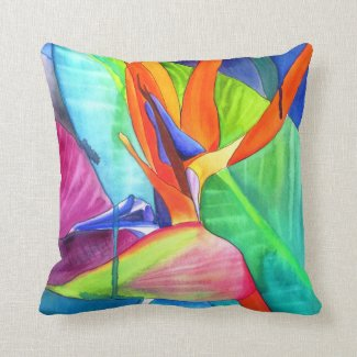 Bird of Paradise watercolour modern flower art Pillow