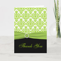Black and Green Damask Thank you Card
