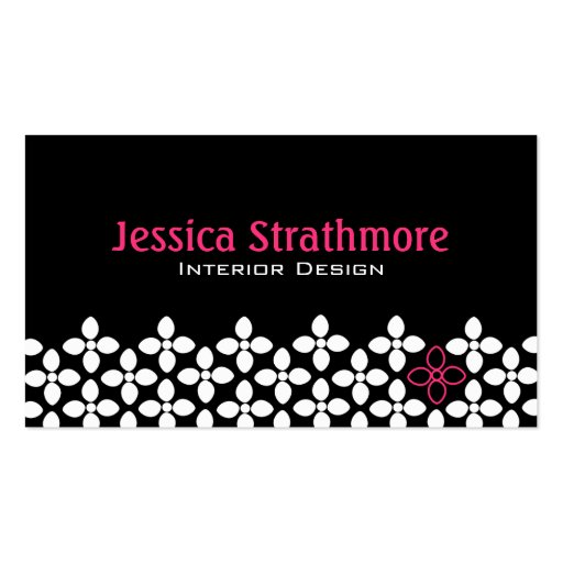 Black and Pink Flower Business Cards