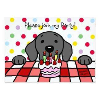 Black Labrador watching you Birthday Custom Invitations