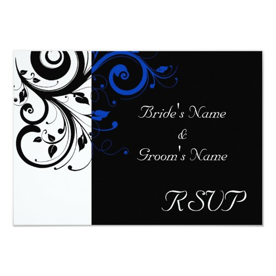 Black/White/Cobalt Blue Bold Swirl Wedding Card