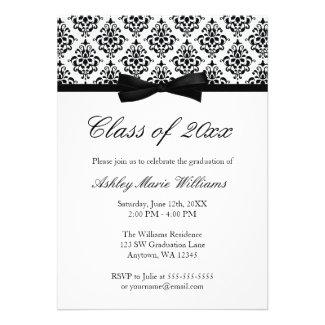 Black White Damask Bow Graduation Announcement