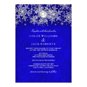 Blue Crystal Pearl Snowflake Silver Winter Wedding 5x7 Paper Invitation Card